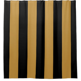 Elegant Black and Gold Bold Vertical Stripes Shower Curtain