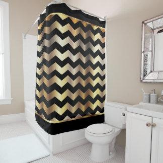 Elegant Black and Gold Chevron Stripes Shower Curtain