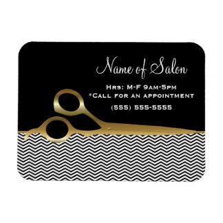 Elegant Black and Gold Chevrons Hair Salon Magnet