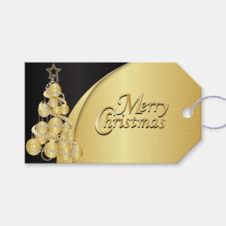 Elegant Black and Gold Christmas Gift Tags