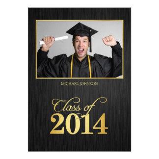 Elegant black and gold Class of 2014 Graduation Custom Announcement