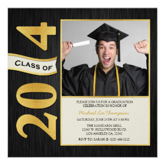 Elegant Black and Gold Class of 2014 Graduation Custom Announcements