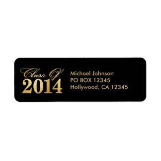 Elegant Black and Gold Class of 2014 Return Address Label