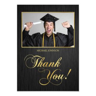 Elegant black and gold Class of 2014 Thank You Card