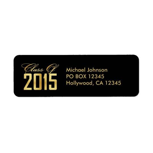 Elegant Black and Gold Class of 2015 Return Address Label