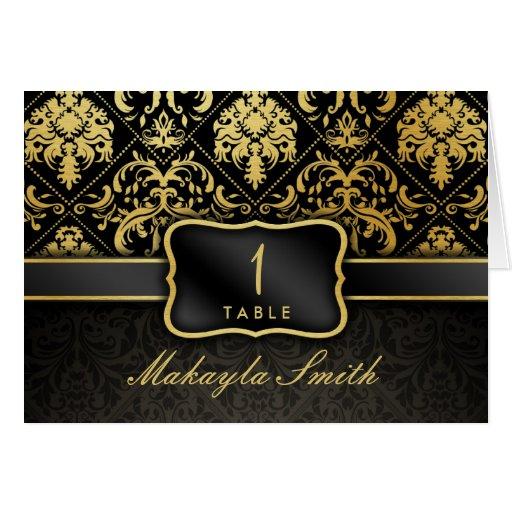Elegant Black and Gold Damask Escort Cards