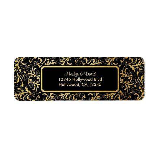Elegant Black and Gold Damask Return Address Label