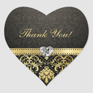 Elegant Black and Gold Damask Thank You Stickers