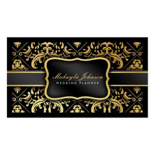 Elegant black and gold damask wedding planner business for Black and gold business cards