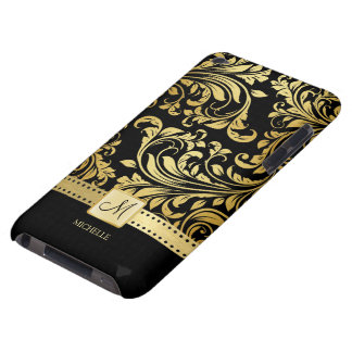 Elegant Black and Gold Damask wiht Monogram Barely There iPod Cases