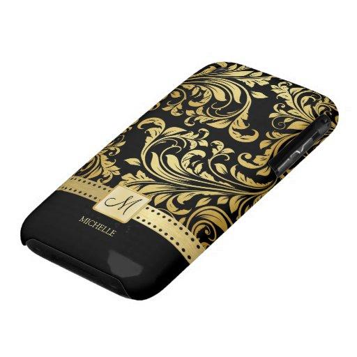 Elegant Black and Gold Damask wiht Monogram iPhone 3 Case