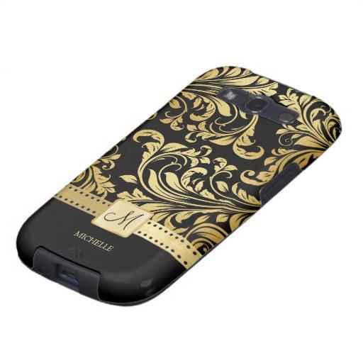 Elegant Black and Gold Damask wiht Monogram Samsung Galaxy S3 Case