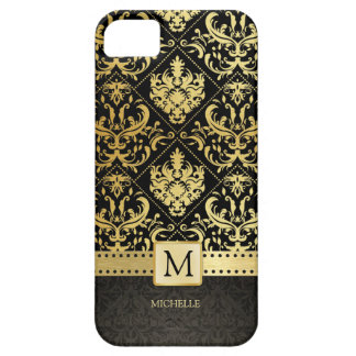 Elegant Black and Gold Damask wiht Monogram Case For The iPhone 5