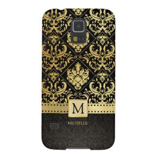 Elegant Black and Gold Damask wiht Monogram Galaxy S5 Cases