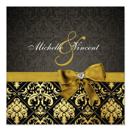 Elegant Black and Gold Damask with heart diamond Card