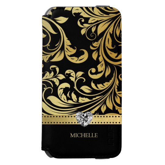 Elegant Black and Gold Damask with Monogram Incipio
