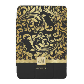 Elegant Black and Gold Damask with Monogram iPad Mini Cover