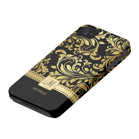 Elegant Black and Gold Damask with Monogram iPhone