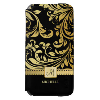 Elegant Black and Gold Damask with Monogram Incipio Watson™ iPhone 6 Wallet Case