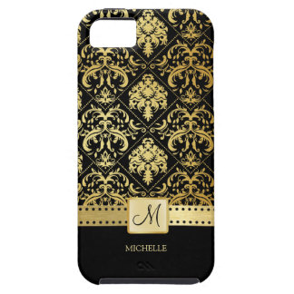 Elegant Black and Gold Damask witth Monogram iPhone 5 Cover