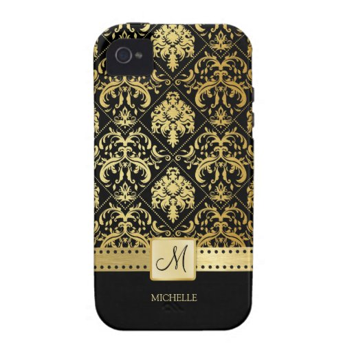 Elegant Black and Gold Damask witth Monogram Case-Mate iPhone 4 Cover