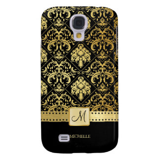 Elegant Black and Gold Damask witth Monogram Galaxy S4 Case