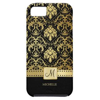 Elegant Black and Gold Damask witth Monogram iPhone 5 Case