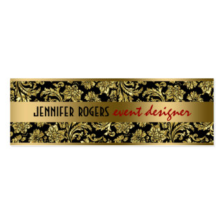 Elegant Black And Gold Damasks And Stripes 2 Double-Sided Mini Business Cards (Pack Of 20)