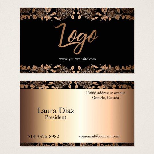 Elegant black and gold floral Business card