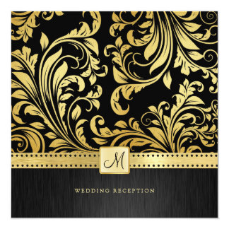 Elegant Black and Gold Floral Damask Reception Card
