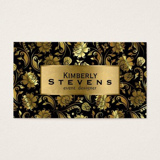 Elegant Black And Gold Floral Damasks Business Card