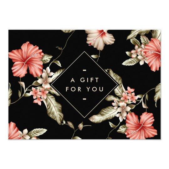 Elegant Black and Gold Floral Pattern Gift Card