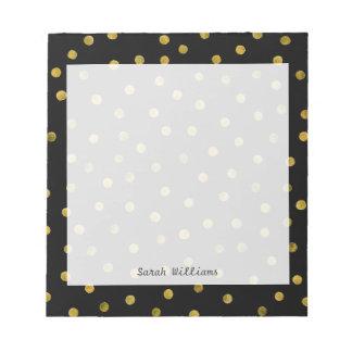 Elegant Black And Gold Foil Confetti Dots Notepad