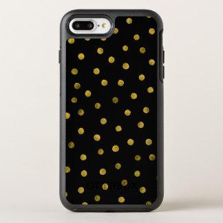 Elegant Black And Gold Foil Confetti Dots OtterBox Symmetry iPhone 8 Plus/7 Plus Case