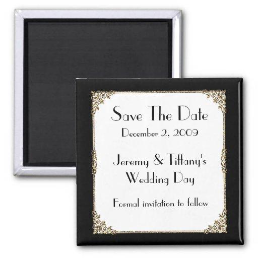 Elegant Black and Gold Frame Save the Date Magnet