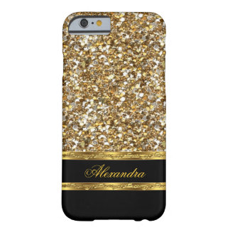 Elegant Black and Gold Glitter Barely There iPhone 6 Case