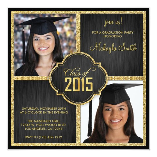 Elegant Black and Gold Glitter Class of 2015 Card