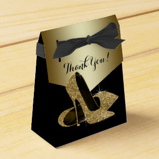 Elegant Black and Gold Glitter High Heel Shoe Wedding Favour Box