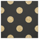 Elegant Black And Gold Glitter Polka Dots Pattern Fabric