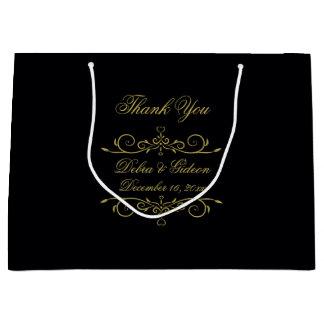 Elegant Black and Gold Heart Flourish Thank You Large Gift Bag