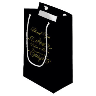 Elegant Black and Gold Heart Flourish Thank You Small Gift Bag