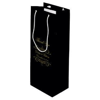 Elegant Black and Gold Heart Flourish Thank You Wine Gift Bag