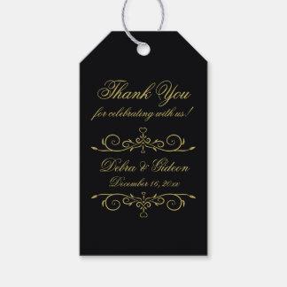 Elegant Black and Gold Hearts Monogram Thank You