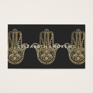 Elegant black and gold henna hamsa hand of Fatima Business Card