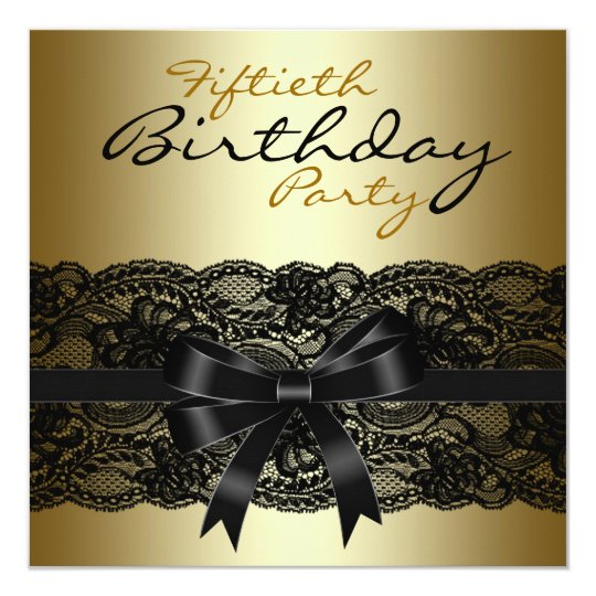 Elegant Black and Gold Lace Birthday Party Card