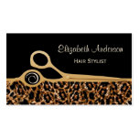 Elegant Black and Gold Leopard Hair Salon Pack Of Standard Business Cards