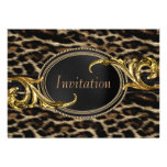 Elegant Black and Gold Leopard Party Custom Announcements