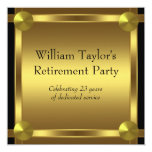Elegant Black and Gold Mans Retirement Party Personalized Invite