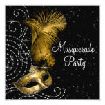 Elegant Black and Gold Masquerade Party Personalised Invitations