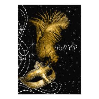 Elegant Black and Gold Masquerade Party RSVP 9 Cm X 13 Cm Invitation Card
